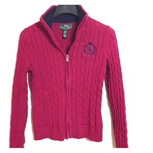 Cable knit collared Ralph Lauren Zip-Up Sweater/ M
